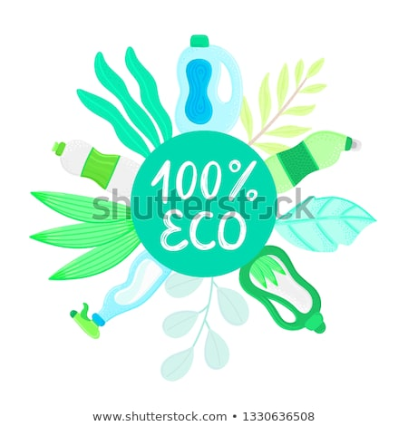 Eco friendly household cleaner in leaves. Natural detergent. Organic biodegradable product for house Stock photo © user_10144511