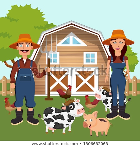 Two farmers in the farm scene. Farm scene organic products label. Flat vector illustration Stock photo © makyzz