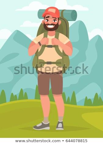 Personnage homme randonneur sac à dos vecteur Photo stock © pikepicture