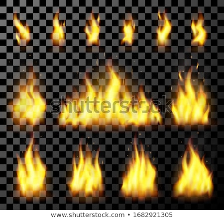 red realistic fire set on a transparent background for danger concept or web design flame set and stock photo © marysan