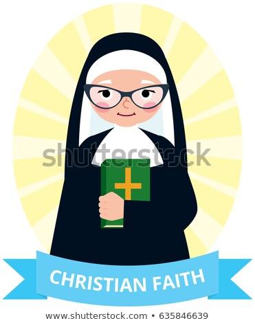 rahibe · örnek · kadın · siyah · kişi · karikatür - stok fotoğraf © urchenkojulia