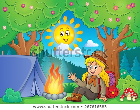 Scout girl in tent theme 2 Stock photo © clairev