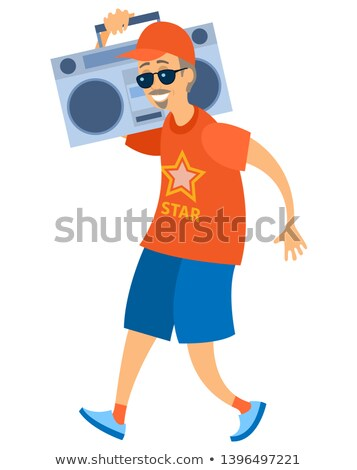 Idős tart lemezjátszó idős férfi vektor Stock fotó © robuart