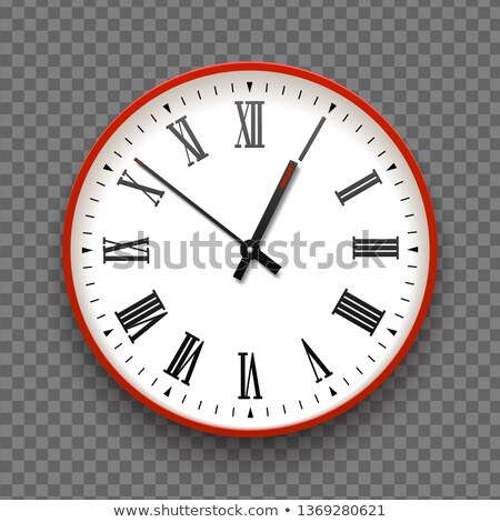Red and white wall office clock icon with roman numbers. Design template vector closeup. Mock-up Stock photo © Iaroslava