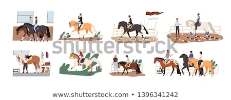 People Riding on Horseback, Men and Horses Vector Stock photo © robuart
