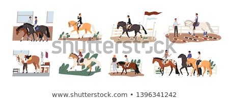 Mensen paardrijden paardenrug mannen paarden vector Stockfoto © robuart