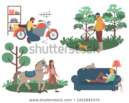 Woman with Horse, Man with Dog Hunting Vector Stock photo © robuart