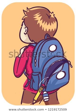 Criança menino coisas ilustração abrir Foto stock © lenm