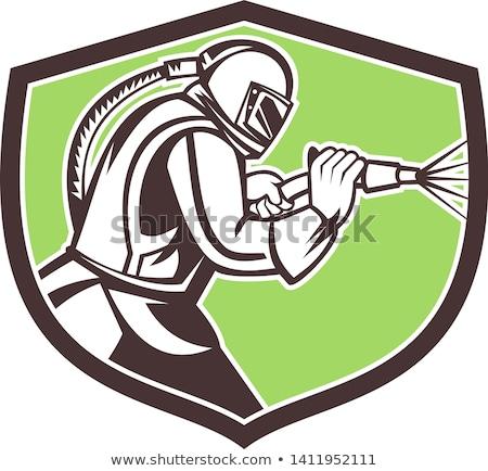 Abrasive Blasting Mascot Crest Stock photo © patrimonio