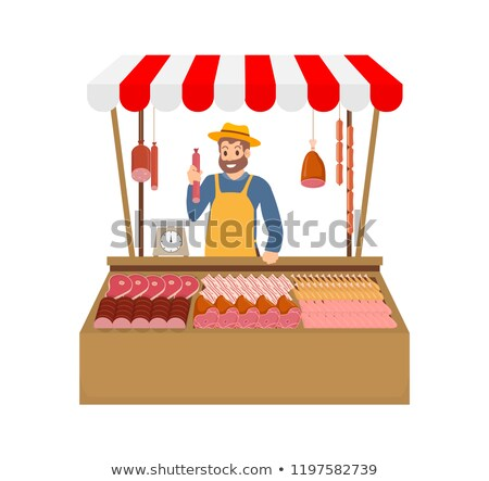 farm Production, Seller and Meat, Shop Vector Stock photo © robuart