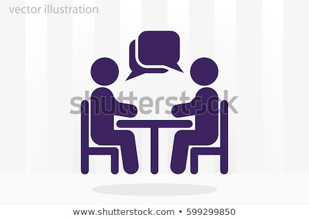 People working in office at desk with chat bubble at meeting Stock photo © wavebreak_media