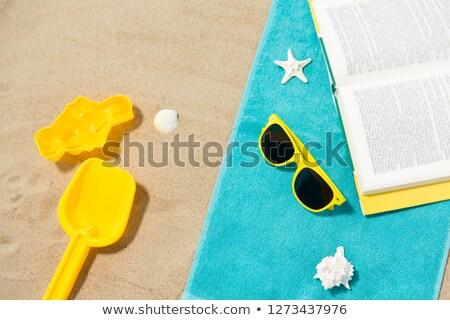 Солнцезащитные очки песок игрушками книга пляжное полотенце отпуск Сток-фото © dolgachov