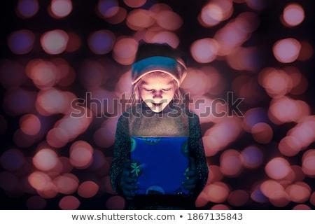 Foto stock: Papai · noel · olhando · luz · abrir · natal · presentes