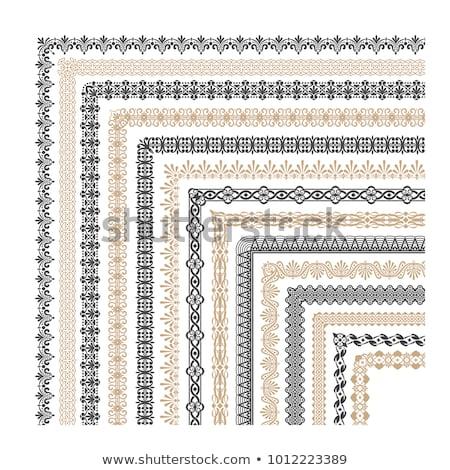 Decoratief naadloos grens ingesteld oude Stockfoto © vtorous