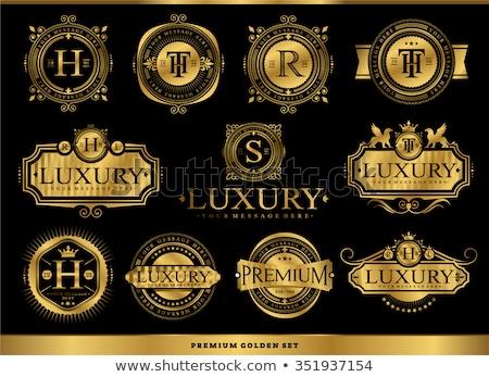 özel altın etiket vektör dizayn Stok fotoğraf © blue-pen