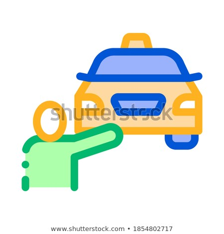 Ludzi online taksówką ikona wektora cienki Zdjęcia stock © pikepicture