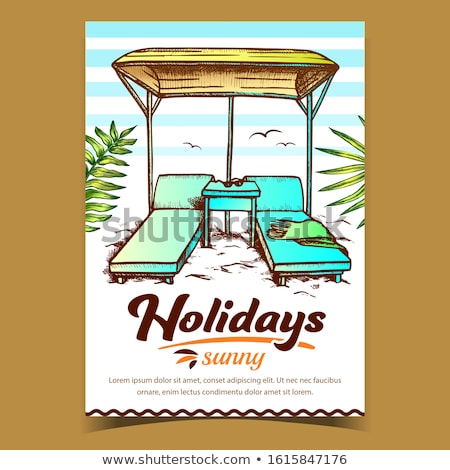 Deck Chairs Under Canopy On Beach Vintage Vector Stock photo © pikepicture
