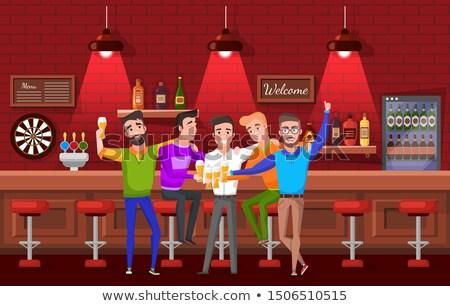 Vőlegény barátok agglegény buli kocsma vektor Stock fotó © robuart