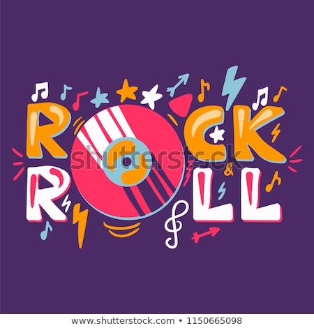 Etiqueta vinil rocha rolar retro música Foto stock © barsrsind