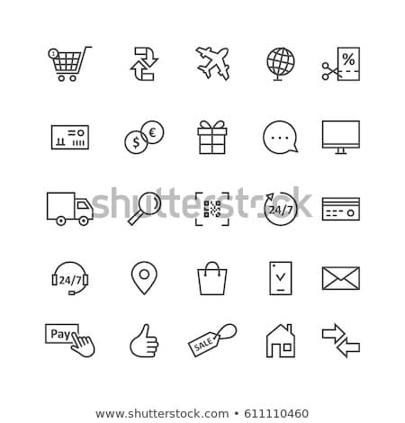 online · winkelen · vector · icon · lineair · schets · stijl - stockfoto © decorwithme