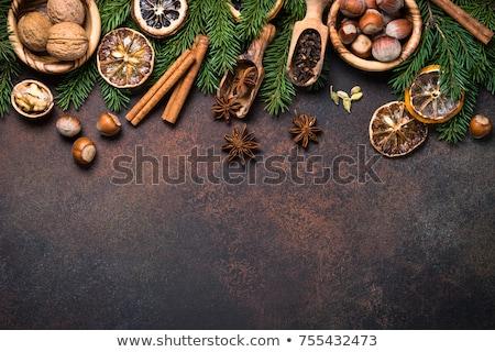 Especias dulces nueces Navidad tarjeta de felicitación Foto stock © karandaev