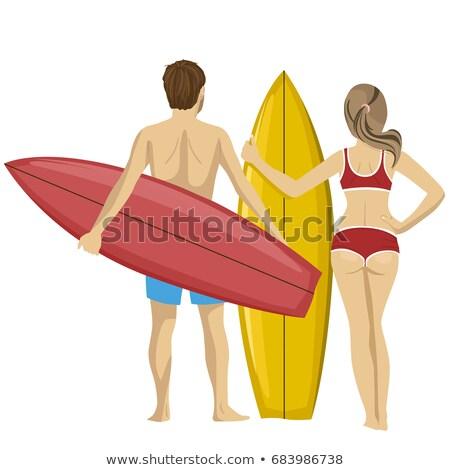 Hátsó nézet kaukázusi női szörfös áll szörfdeszka Stock fotó © wavebreak_media