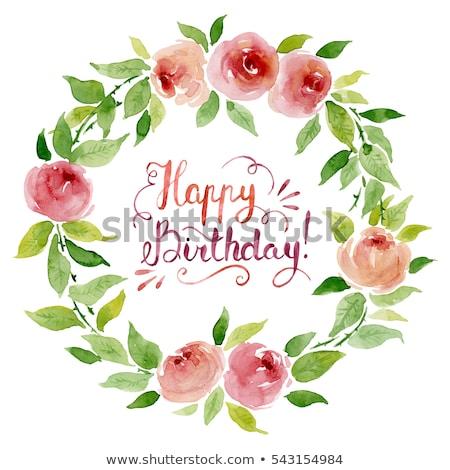 Happy Birthday- Rose Floral wreath watercolor Stock photo © shawlinmohd