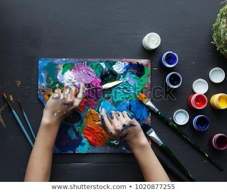 Artistik soyut doku mavi akrilik fırça boya Stok fotoğraf © Anneleven
