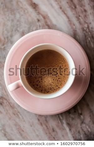 Ochtend koffiekopje melk marmer steen warme drank Stockfoto © Anneleven