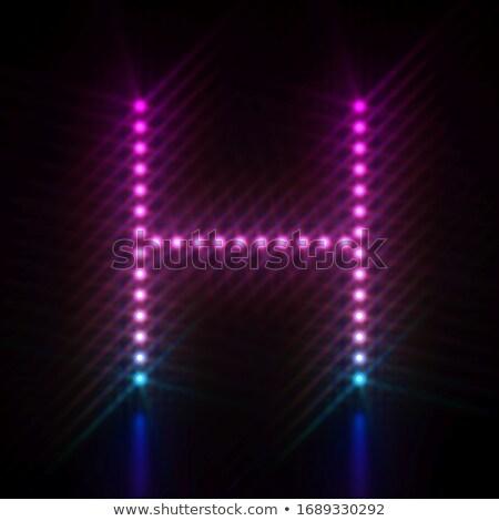 Rózsaszín kék pont fény betűtípus h betű Stock fotó © djmilic