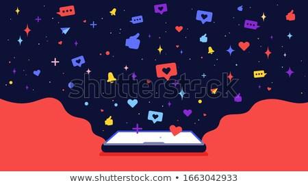 современных характер сотового телефона облаке Вселенной иконки Сток-фото © FoxysGraphic