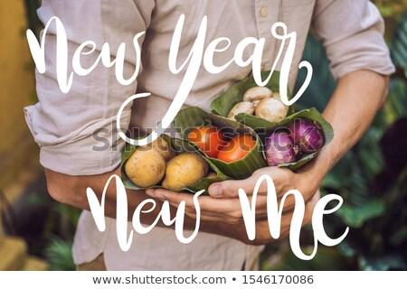 Yılbaşı yeni bana ürün paketleme sebze Stok fotoğraf © galitskaya