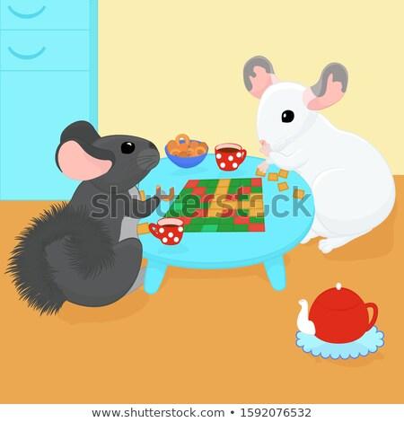 two cartoon chinchillas play board games and drink tea Stock photo © Hipatia