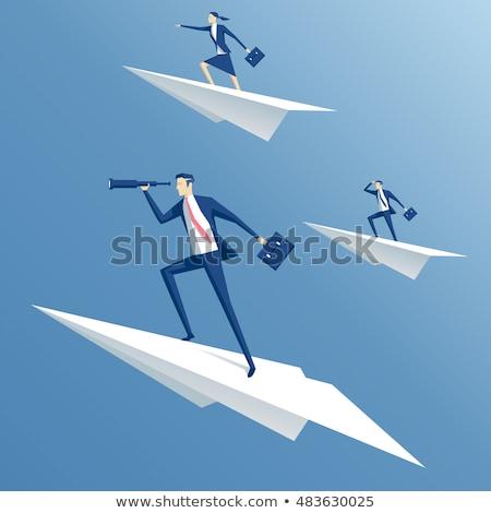 бизнес-команды бумаги плоскости честолюбивый люди люди, работающие Сток-фото © robuart