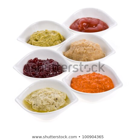 six colorful bowls and spoons on white background stock photo © elly_l
