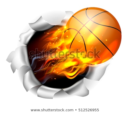 Vlammende clip art vector afbeelding basketbal abstract Stockfoto © damonshuck