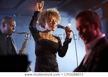 Jazz cantora três cor imprimir meio-tom Foto stock © sahua