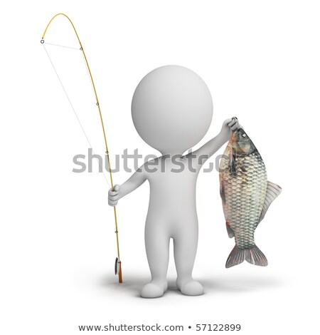 3d small people - fisherman and fish stock photo © AnatolyM