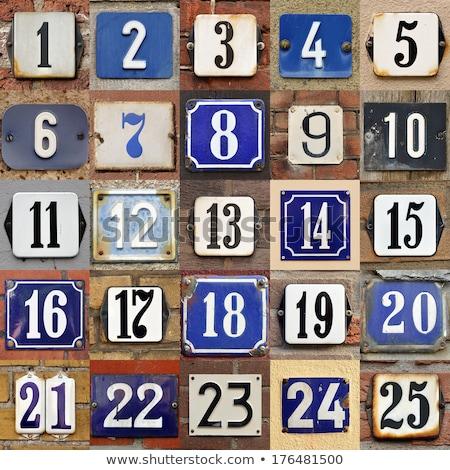 maison · nombre · 16 · signe · noir · mur - photo stock © gertje