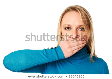 woman covers her mouth with hand freedom of speech concept stock photo © scornejor