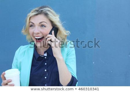 Mulher de negócios uma boa notícia telefone mão sorrir trabalhar Foto stock © scornejor