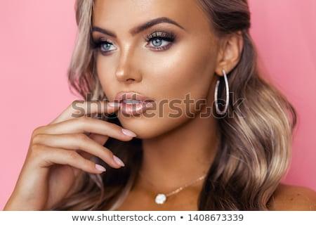 Loiro rosa rosas retrato belo mulher loira Foto stock © peterveiler