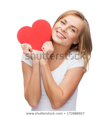 Beautiful woman holding big red heart Stock photo © Anna_Om