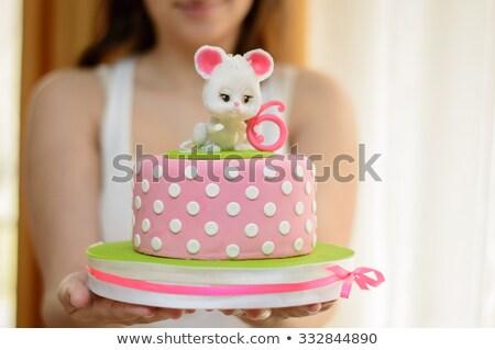 mamma · kinderen · verjaardagstaart · familie · voedsel · landschap - stockfoto © photography33