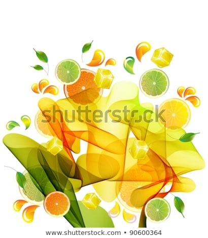 ストックフォト: オレンジ · 石灰 · ジュース · スプラッシュ · 抽象的な · 波
