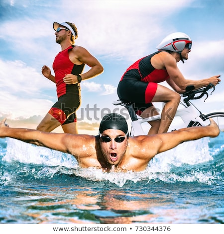 Triathlon detalhado silhueta vetor formato fácil Foto stock © abdulsatarid