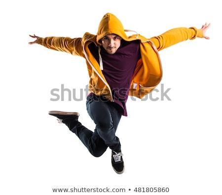 Foto stock: Saltando · jovem · dançarina · isolado · branco · mulher