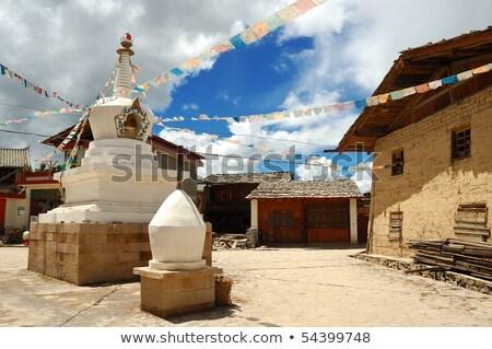 histórico · tibete · dourado · blue · sky · céu · edifício - foto stock © bbbar