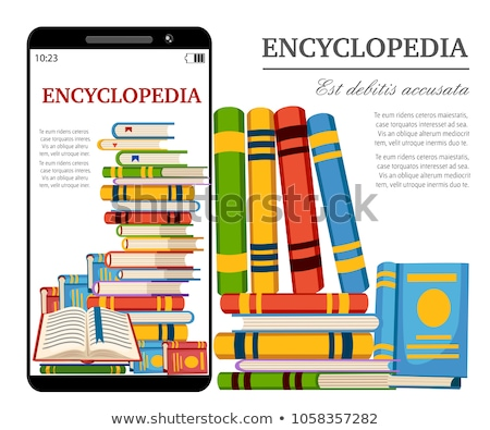 Digital book on smartphone display - E-library concept stock photo © adamr