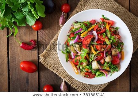 Warzyw Sałatka zielone obiedzie widelec pomidorów Zdjęcia stock © M-studio